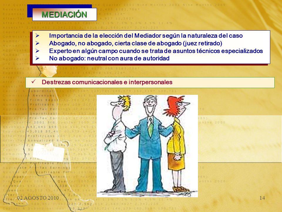 02 AGOSTO 201014 MEDIACIÓNMEDIACIÓN Destrezas comunicacionales e interpersonales Importancia de la elección del Mediador según la naturaleza del caso