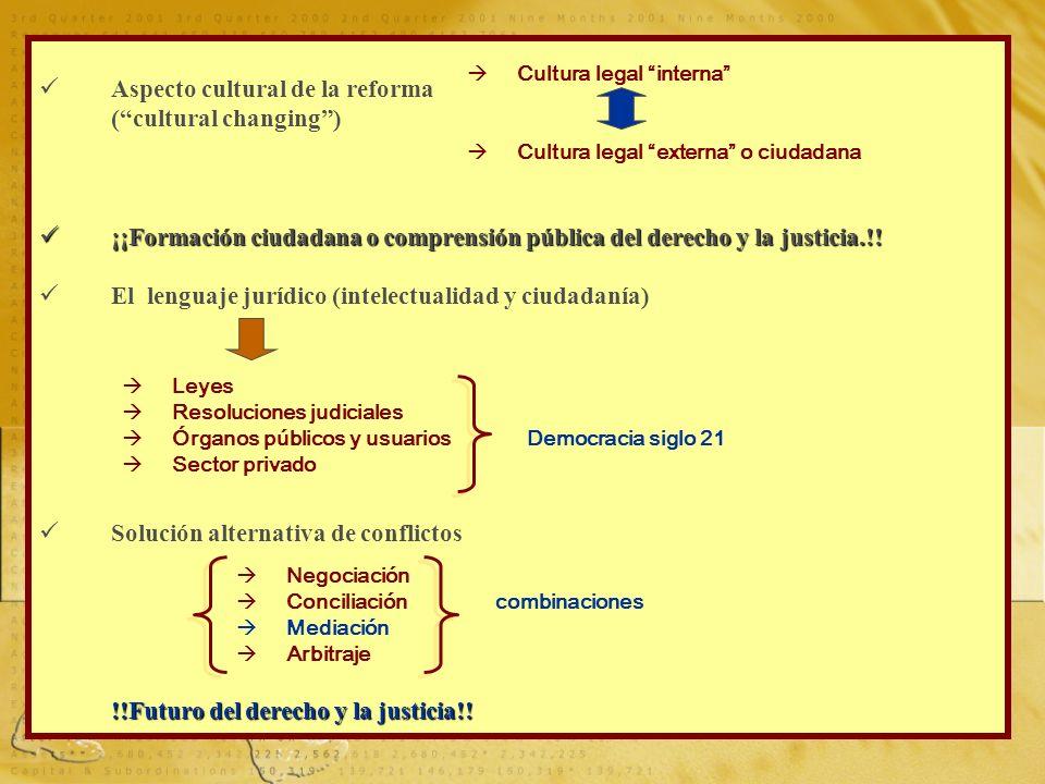 02 AGOSTO 20109 Aspecto cultural de la reforma (cultural changing) ¡¡Formación ciudadana o comprensión pública del derecho y la justicia.!! ¡¡Formació