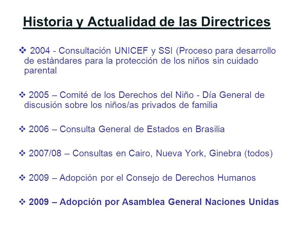 Historia y Actualidad de las Directrices 2004 - Consultación UNICEF y SSI (Proceso para desarrollo de estándares para la protección de los niños sin c