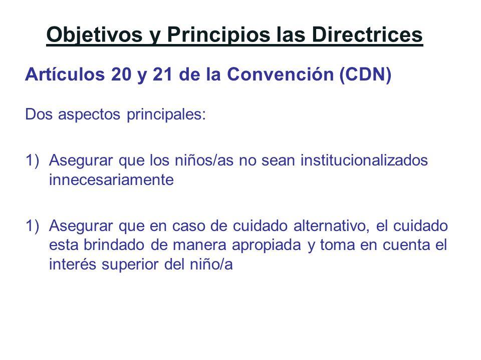Objetivos y Principios las Directrices Artículos 20 y 21 de la Convención (CDN) Dos aspectos principales: 1)Asegurar que los niños/as no sean instituc