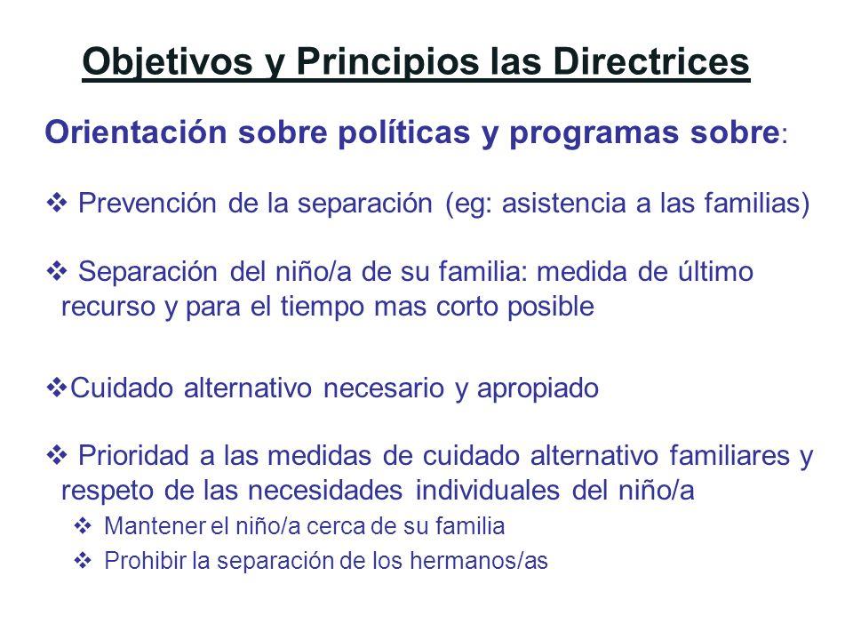 Objetivos y Principios las Directrices Orientación sobre políticas y programas sobre : Prevención de la separación (eg: asistencia a las familias) Sep
