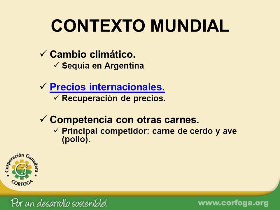 CONTEXTO MUNDIAL Cambio climático. Sequia en Argentina Precios internacionales. Recuperación de precios. Competencia con otras carnes. Principal compe
