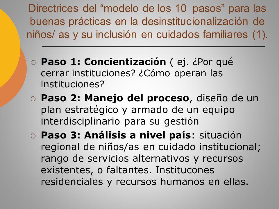 Paso 4: Análisis a nivel institucional; evaluación de las necesidades de los niños/as y situaciones potenciales de sus familias (ej.