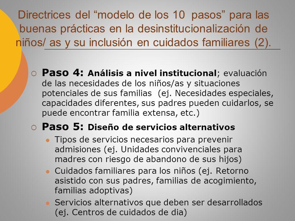 Paso 6: Planificación de transferencia de recursos de cuidado institucional a servicios integrados a la comunidad (recursos: RRHH, financieros) (ej.