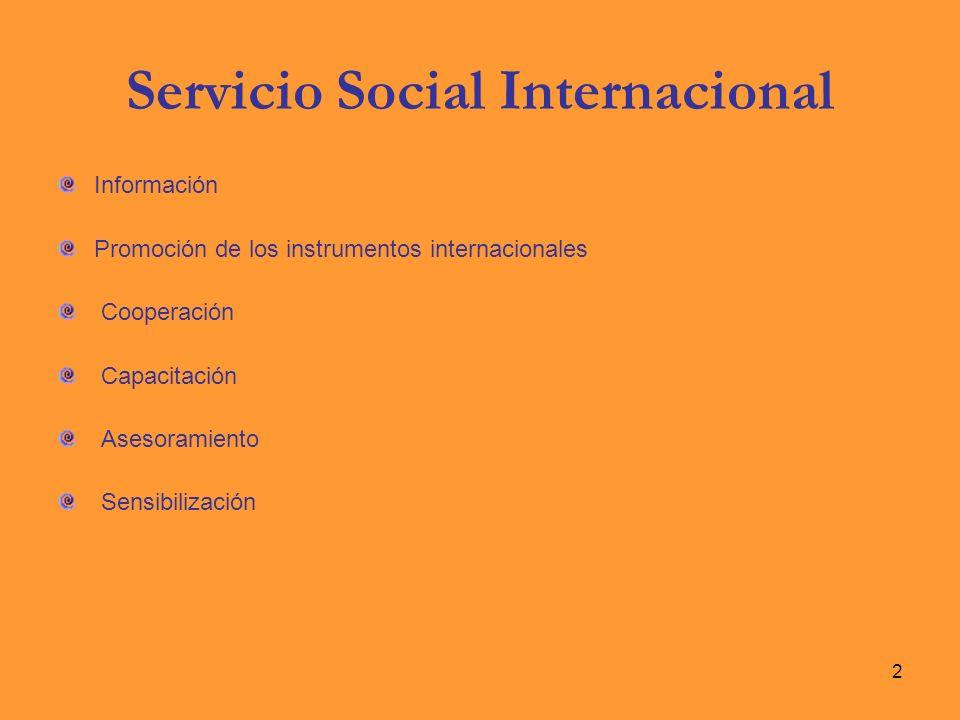 Servicio Social Internacional Información Promoción de los instrumentos internacionales Cooperación Capacitación Asesoramiento Sensibilización 2