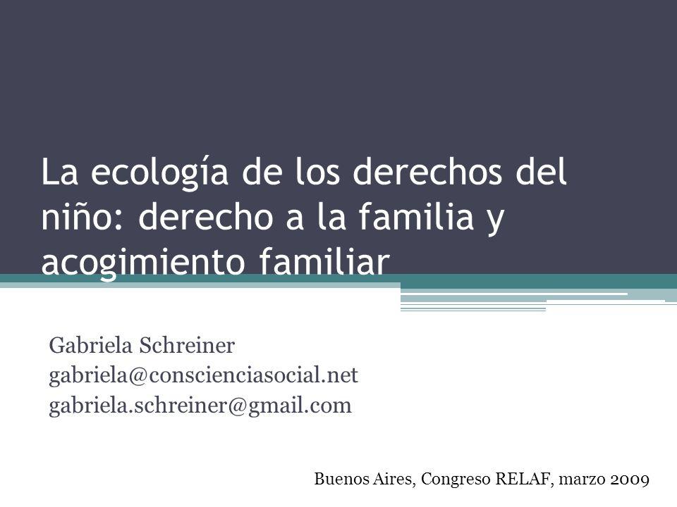 La ecología de los derechos del niño: derecho a la familia y acogimiento familiar Gabriela Schreiner gabriela@conscienciasocial.net gabriela.schreiner
