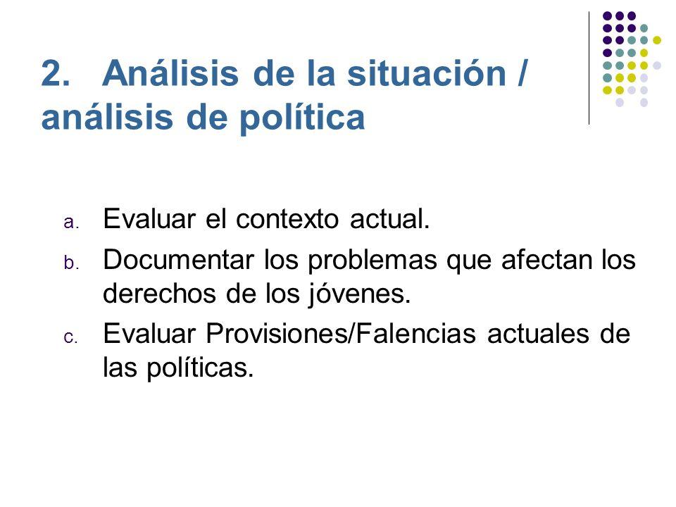 2. Análisis de la situación / análisis de política a.
