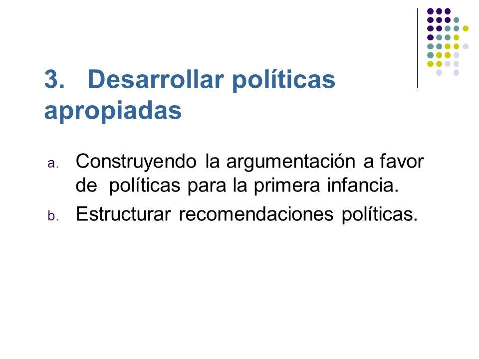 3. Desarrollar políticas apropiadas a.