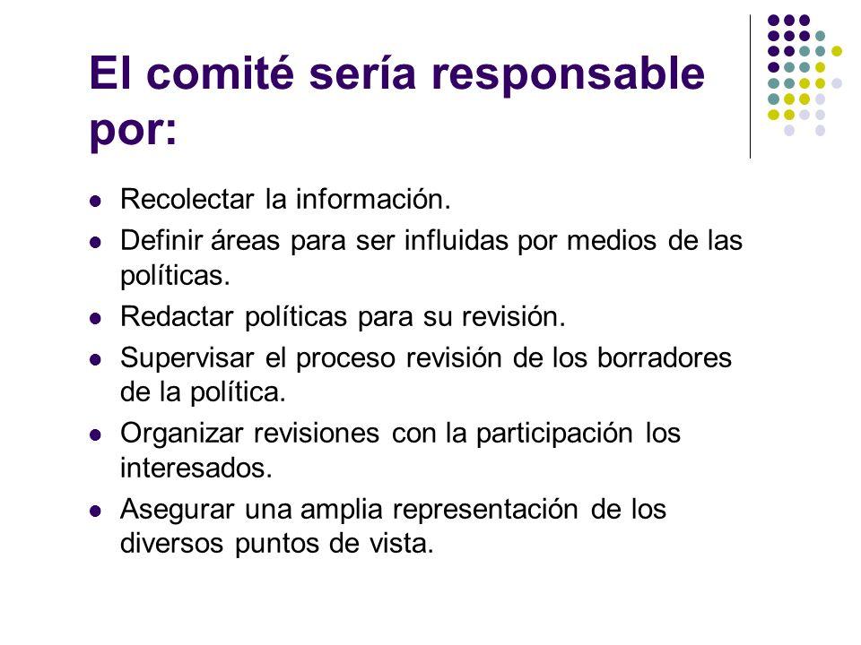 El comité sería responsable por: Recolectar la información.