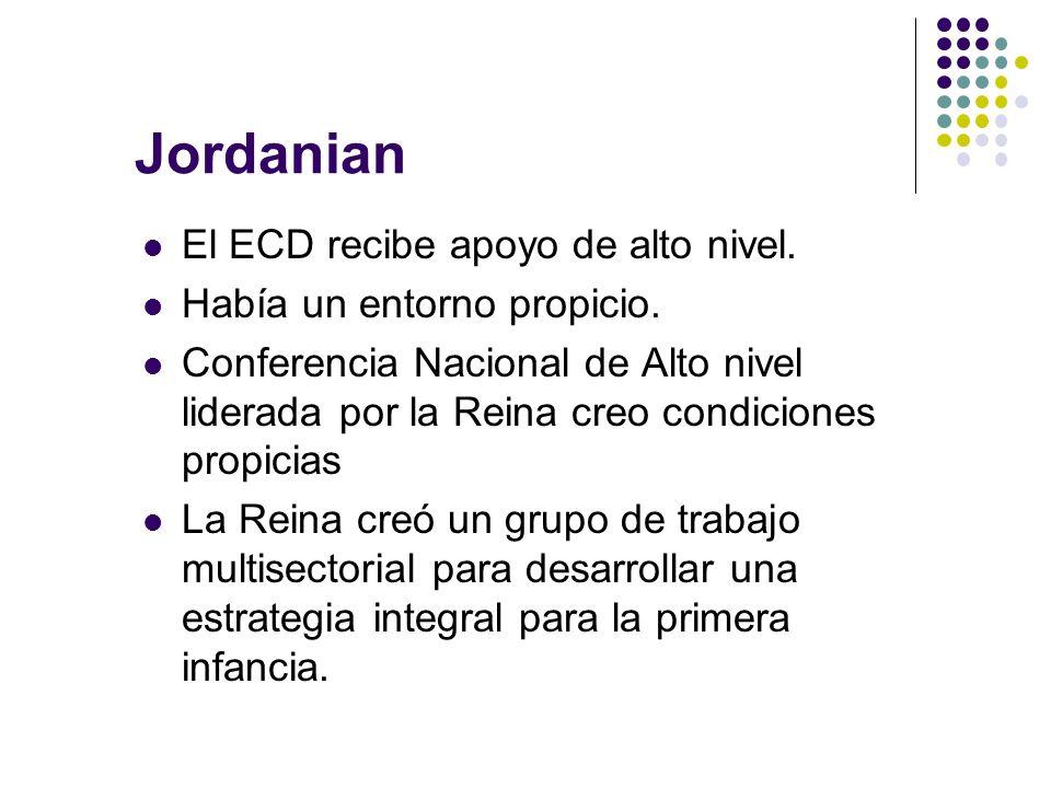 Jordanian El ECD recibe apoyo de alto nivel.Había un entorno propicio.
