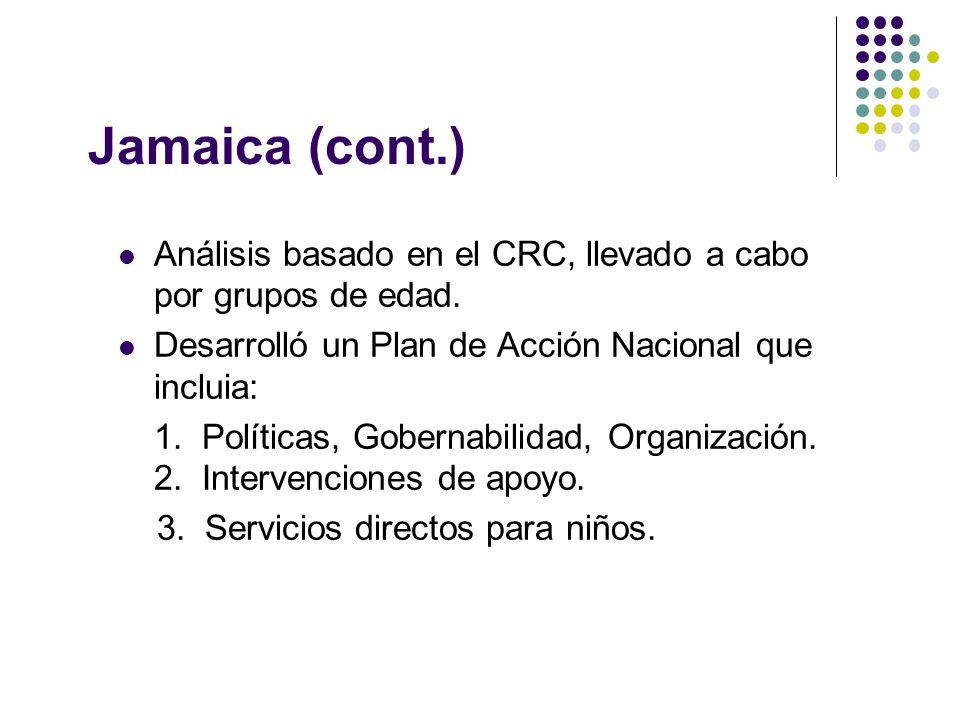 Jamaica (cont.) Análisis basado en el CRC, llevado a cabo por grupos de edad.