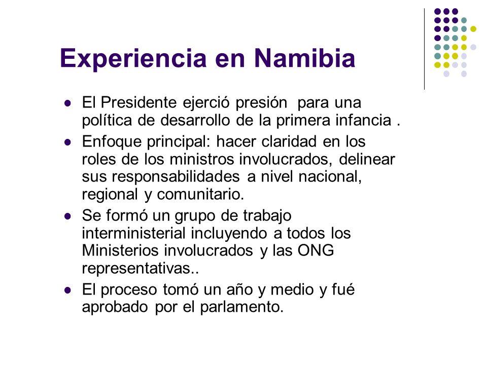 Experiencia en Namibia El Presidente ejerció presión para una política de desarrollo de la primera infancia.