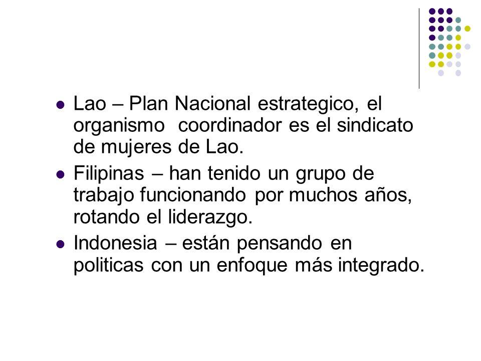 Lao – Plan Nacional estrategico, el organismo coordinador es el sindicato de mujeres de Lao.