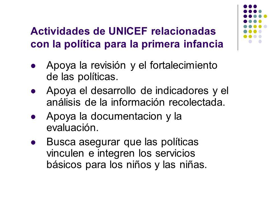Actividades de UNICEF relacionadas con la política para la primera infancia Apoya la revisión y el fortalecimiento de las políticas.