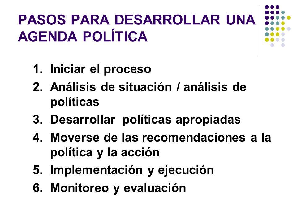 PASOS PARA DESARROLLAR UNA AGENDA POLÍTICA 1. Iniciar el proceso 2.