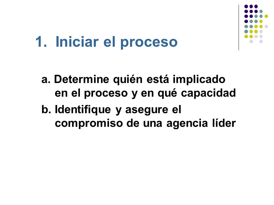 1.Iniciar el proceso a. Determine quién está implicado en el proceso y en qué capacidad b.