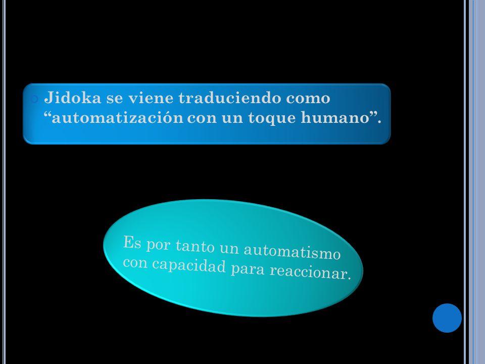 Jidoka se viene traduciendo como automatización con un toque humano. Es por tanto un automatismo con capacidad para reaccionar.