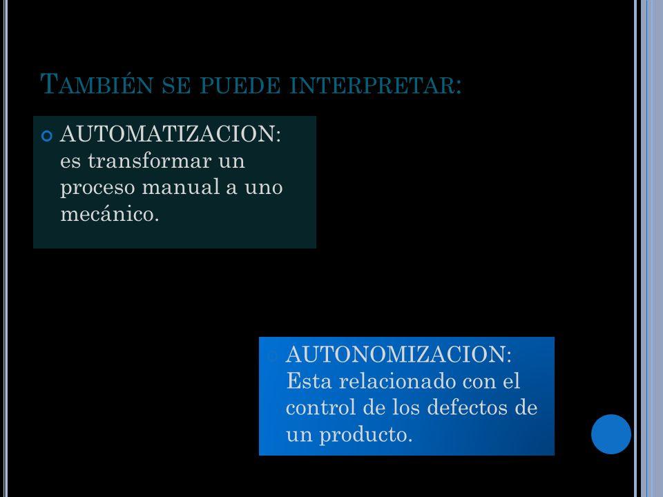 T AMBIÉN SE PUEDE INTERPRETAR : AUTOMATIZACION: es transformar un proceso manual a uno mecánico. AUTONOMIZACION: Esta relacionado con el control de lo