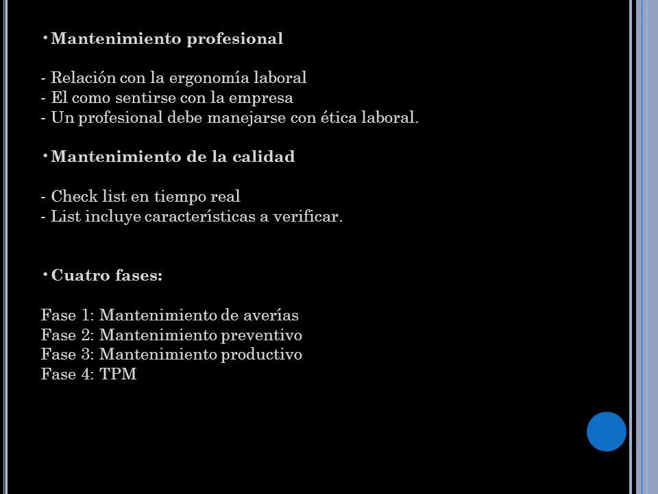 Mantenimiento profesional - Relación con la ergonomía laboral - El como sentirse con la empresa - Un profesional debe manejarse con ética laboral. Man