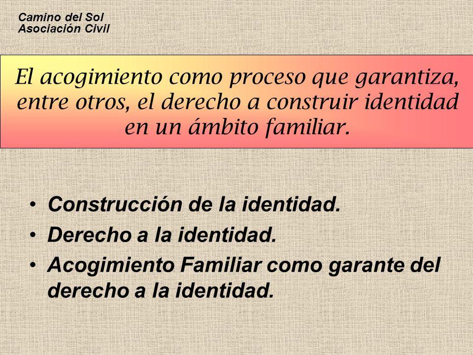 El acogimiento como proceso que garantiza, entre otros, el derecho a construir identidad en un ámbito familiar. Construcción de la identidad. Derecho