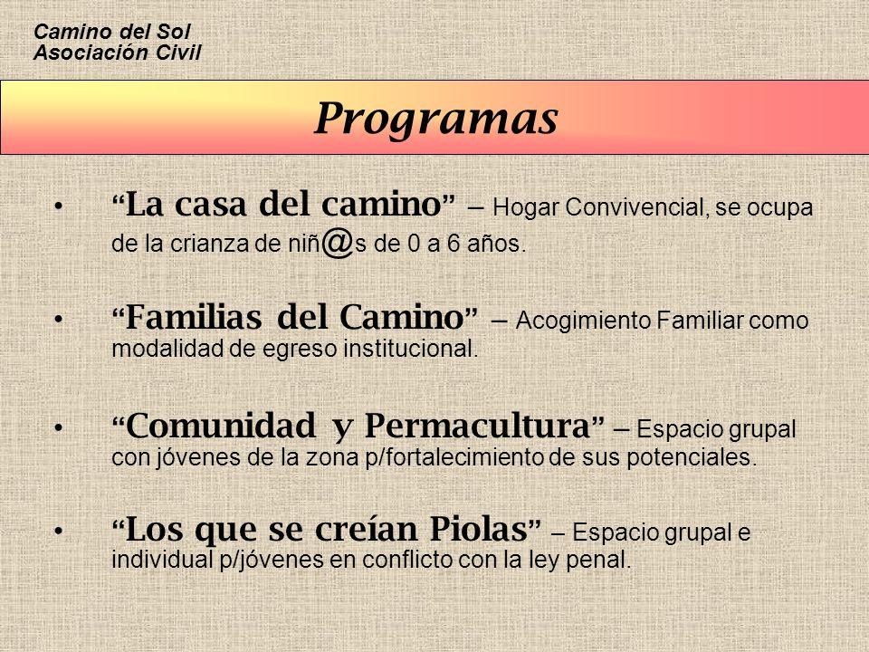 Programas La casa del camino – Hogar Convivencial, se ocupa de la crianza de niñ @ s de 0 a 6 años. Familias del Camino – Acogimiento Familiar como mo
