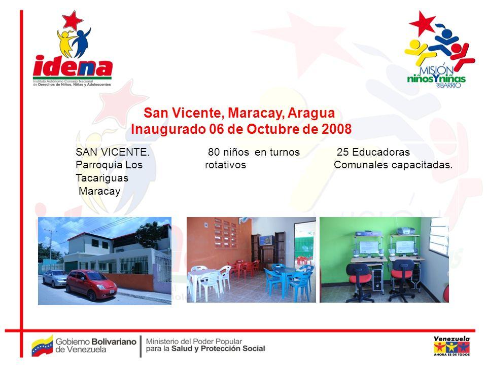 SAN VICENTE. Parroquia Los Tacariguas Maracay 80 niños en turnos rotativos 25 Educadoras Comunales capacitadas. San Vicente, Maracay, Aragua Inaugurad