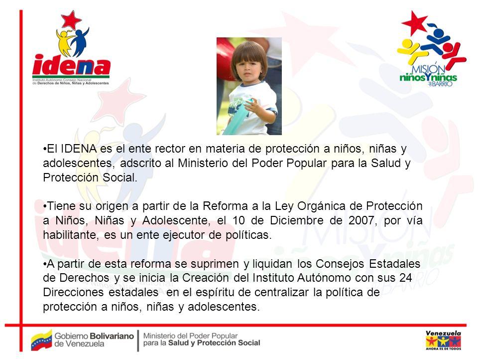 El IDENA es el ente rector en materia de protección a niños, niñas y adolescentes, adscrito al Ministerio del Poder Popular para la Salud y Protección