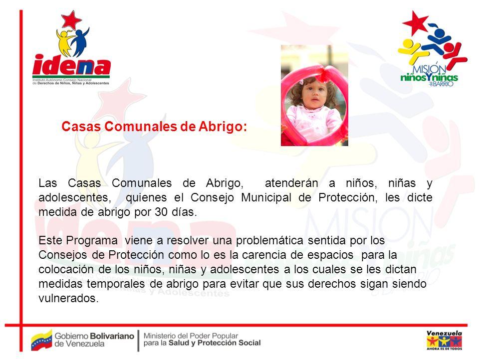 Las Casas Comunales de Abrigo, atenderán a niños, niñas y adolescentes, quienes el Consejo Municipal de Protección, les dicte medida de abrigo por 30
