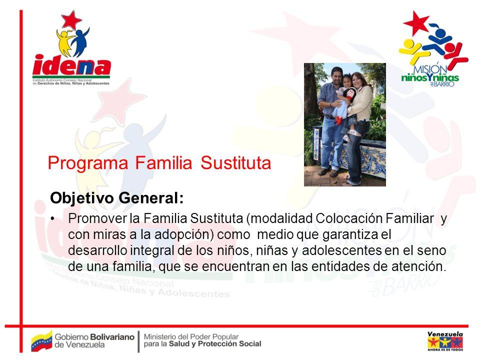 Programa Familia Sustituta Objetivo General: Promover la Familia Sustituta (modalidad Colocación Familiar y con miras a la adopción) como medio que ga