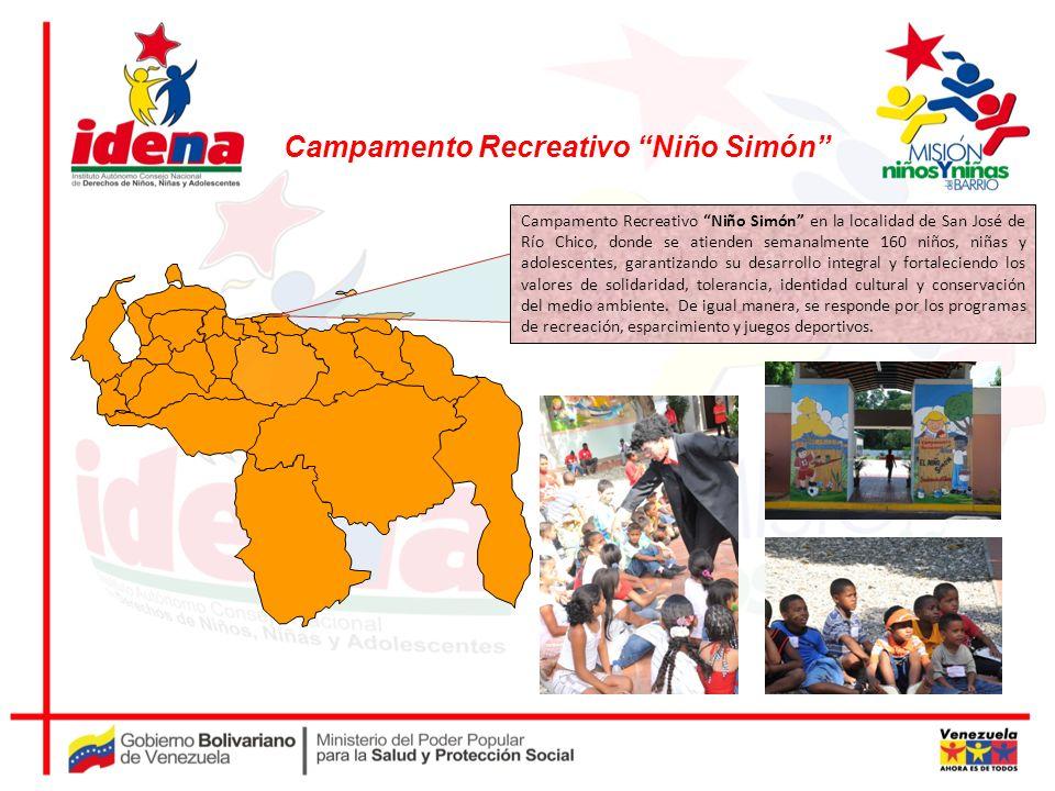 Campamento Recreativo Niño Simón en la localidad de San José de Río Chico, donde se atienden semanalmente 160 niños, niñas y adolescentes, garantizand