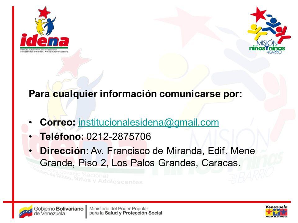 Para cualquier información comunicarse por: Correo: institucionalesidena@gmail.cominstitucionalesidena@gmail.com Teléfono: 0212-2875706 Dirección: Av.