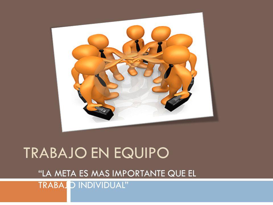 TRABAJO EN EQUIPO… Es un grupo de personas que persiguen un objetivo definido y están de acuerdo con él; que buscan la forma más eficiente de coordinarse, lográndolo con la participación de todos y ayuda mutua.