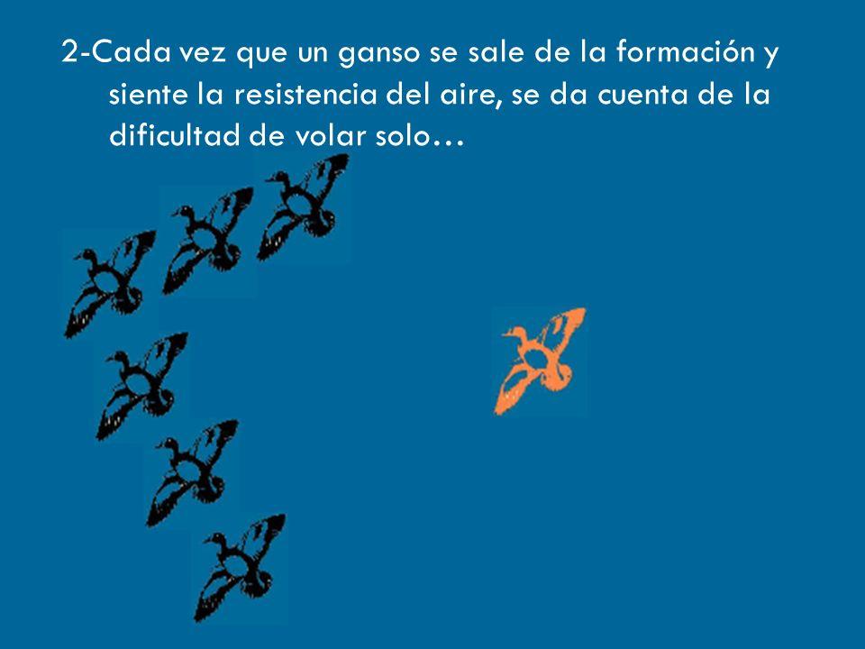 2-Cada vez que un ganso se sale de la formación y siente la resistencia del aire, se da cuenta de la dificultad de volar solo…