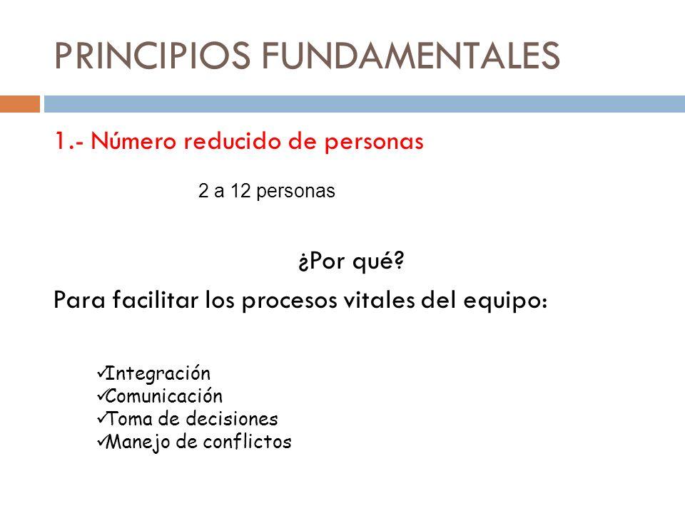 PRINCIPIOS FUNDAMENTALES 1.- Número reducido de personas ¿Por qué.