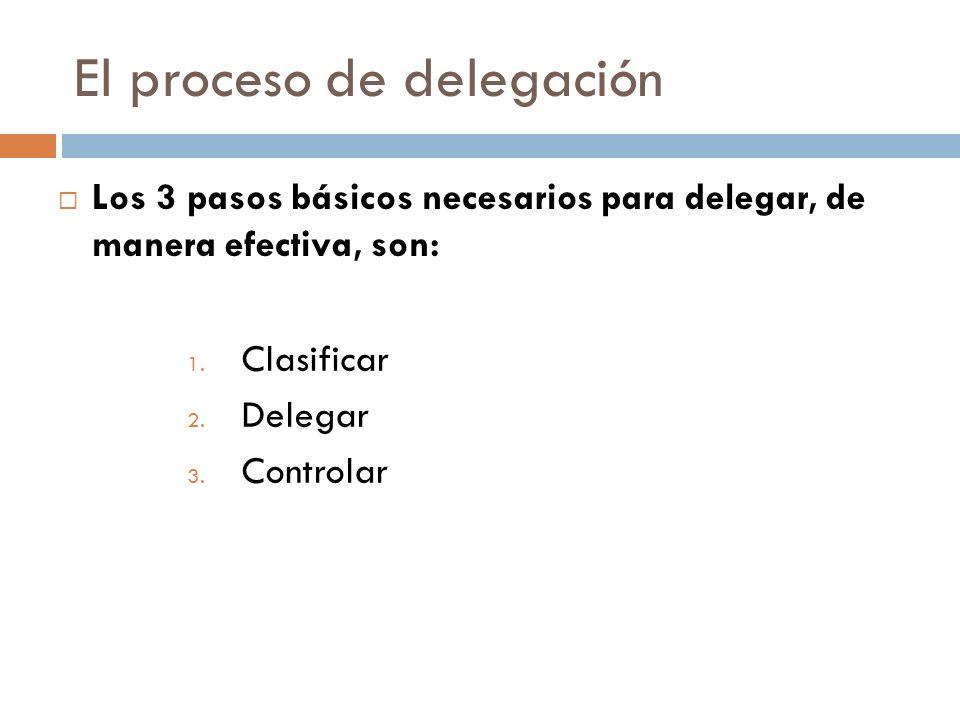 El proceso de delegación Los 3 pasos básicos necesarios para delegar, de manera efectiva, son: 1.