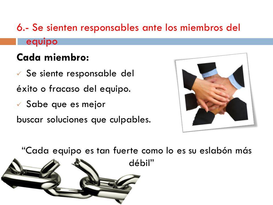 6.- Se sienten responsables ante los miembros del equipo Cada miembro: Se siente responsable del éxito o fracaso del equipo.