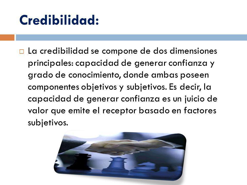 Credibilidad: La credibilidad se compone de dos dimensiones principales: capacidad de generar confianza y grado de conocimiento, donde ambas poseen co