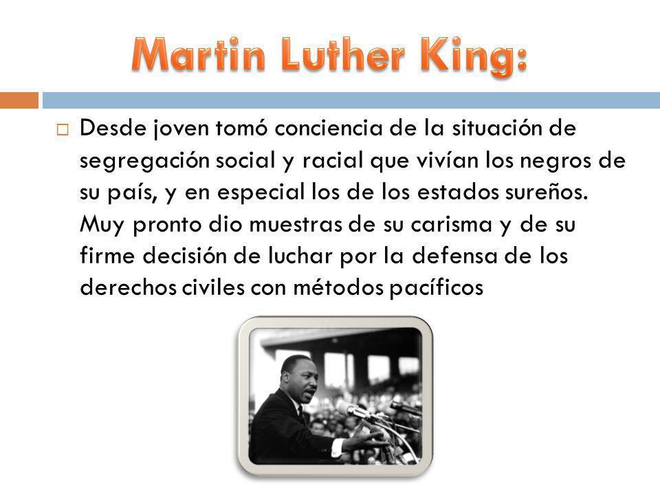 Desde joven tomó conciencia de la situación de segregación social y racial que vivían los negros de su país, y en especial los de los estados sureños.