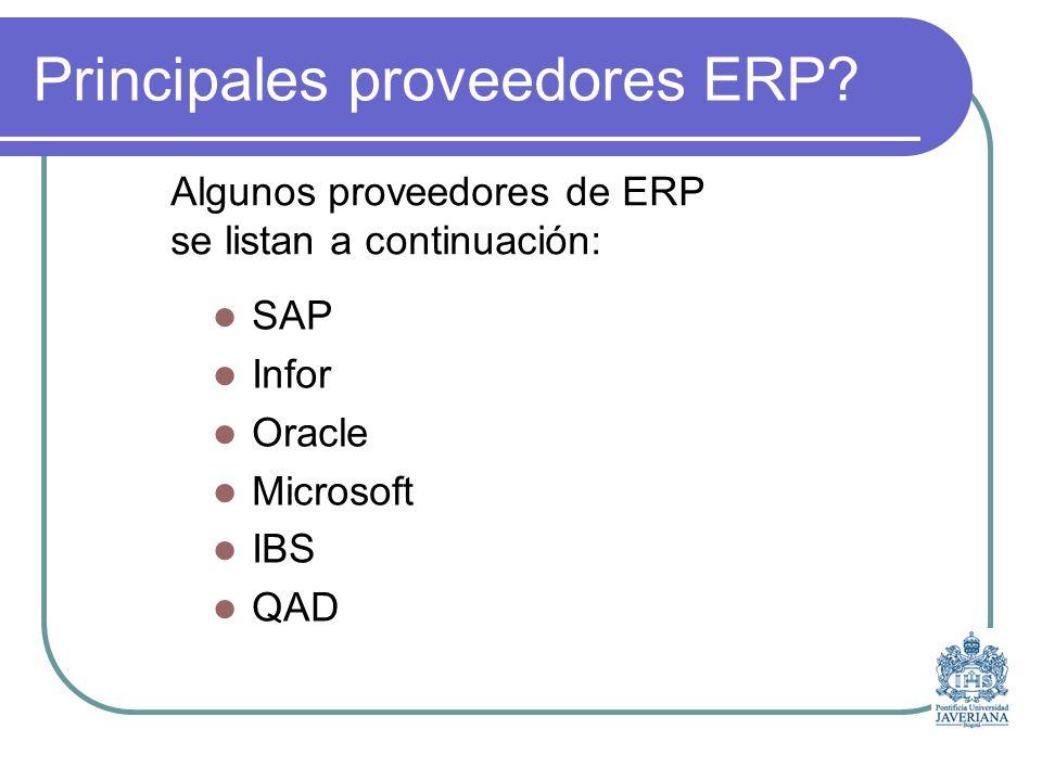 Principales proveedores ERP.