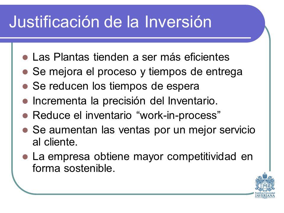 Justificación de la Inversión Las Plantas tienden a ser más eficientes Se mejora el proceso y tiempos de entrega Se reducen los tiempos de espera Incrementa la precisión del Inventario.