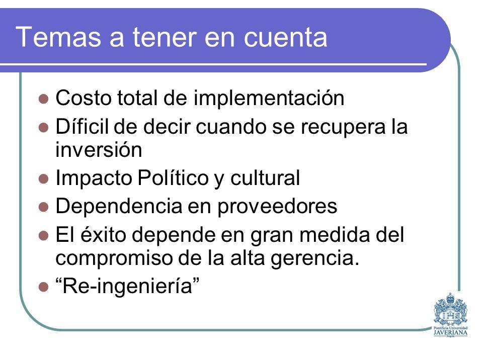 Temas a tener en cuenta Costo total de implementación Díficil de decir cuando se recupera la inversión Impacto Político y cultural Dependencia en proveedores El éxito depende en gran medida del compromiso de la alta gerencia.
