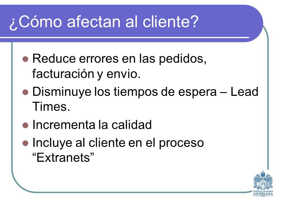 ¿Cómo afectan al cliente.Reduce errores en las pedidos, facturación y envio.