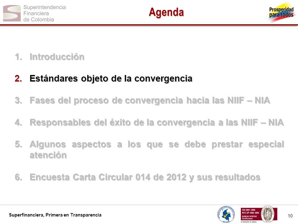 Superfinanciera, Primera en Transparencia 11 ESTANDARES A LOS QUE SE CONVERGE: Normas Internacionales de Información Financiera NIIF.