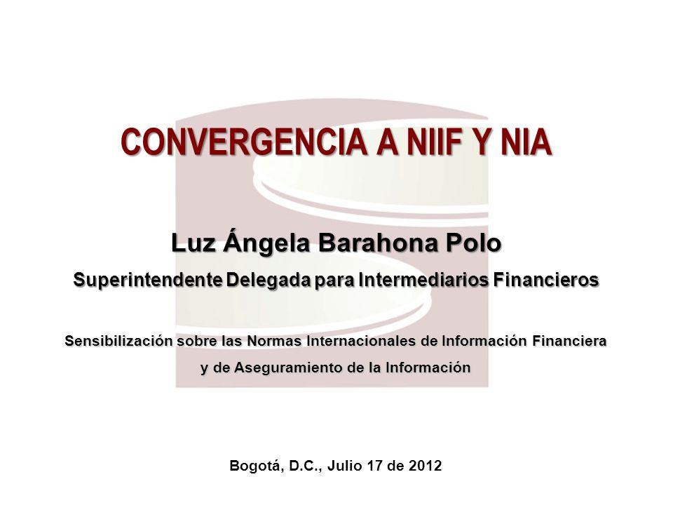 Superfinanciera, Primera en Transparencia 3 1.Introducción 2.Estándares objeto de la convergencia 3.Fases del proceso de convergencia hacia las NIIF – NIA 4.Responsables del éxito de la convergencia a las NIIF – NIA 5.Algunos aspectos a los que se debe prestar especial atención 6.Encuesta Carta Circular 014 de 2012 y sus resultados 7.Mesas de trabajo sectoriales Agenda