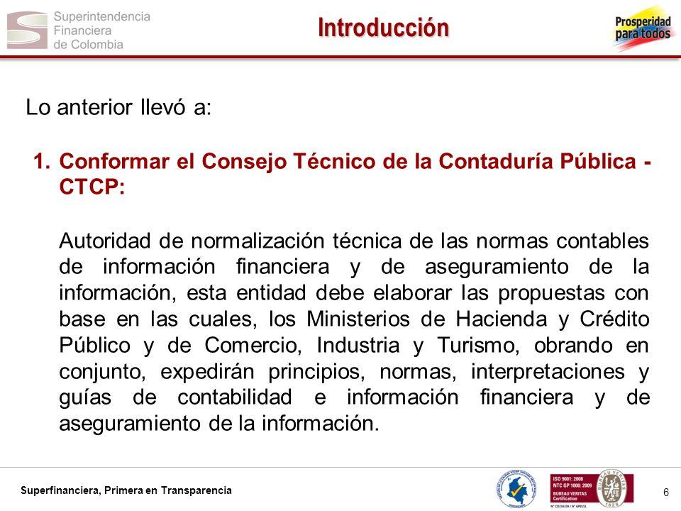 Superfinanciera, Primera en Transparencia 7 Introducción 2.Establecer un cronograma del CTCP para la conversión IFRS-NAI Publicación en español de estándares en portal CTCP para consulta pública Puesta en vigencia de NIIF y NIA por autoridades de regulación Fecha de transición según NIIF 1 Balance de Apertura Emisión Estados Financieros Norma Colombiana y NIIF Estados Financieros bajo NIIF comparativos dictaminados