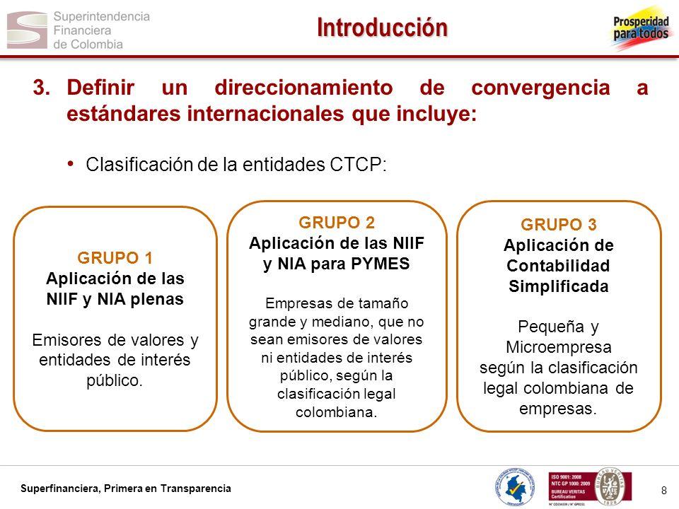 Superfinanciera, Primera en Transparencia 9 Introducción GRUPO 1 Aplicación de las NIIF y NIA plenas.