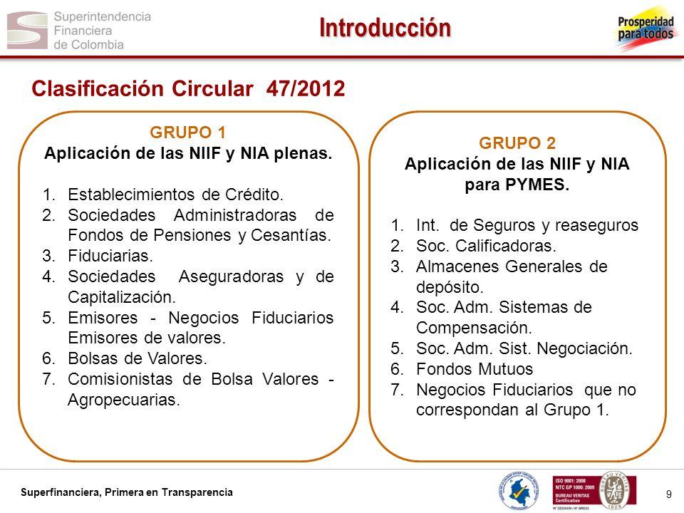 Superfinanciera, Primera en Transparencia 10 Agenda 1.Introducción 2.Estándares objeto de la convergencia 3.Fases del proceso de convergencia hacia las NIIF – NIA 4.Responsables del éxito de la convergencia a las NIIF – NIA 5.Algunos aspectos a los que se debe prestar especial atención 6.Encuesta Carta Circular 014 de 2012 y sus resultados