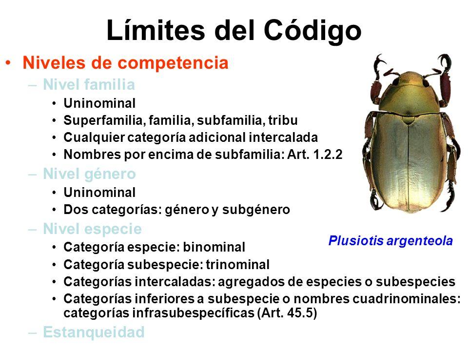 Límites del Código Niveles de competencia –Nivel familia Uninominal Superfamilia, familia, subfamilia, tribu Cualquier categoría adicional intercalada