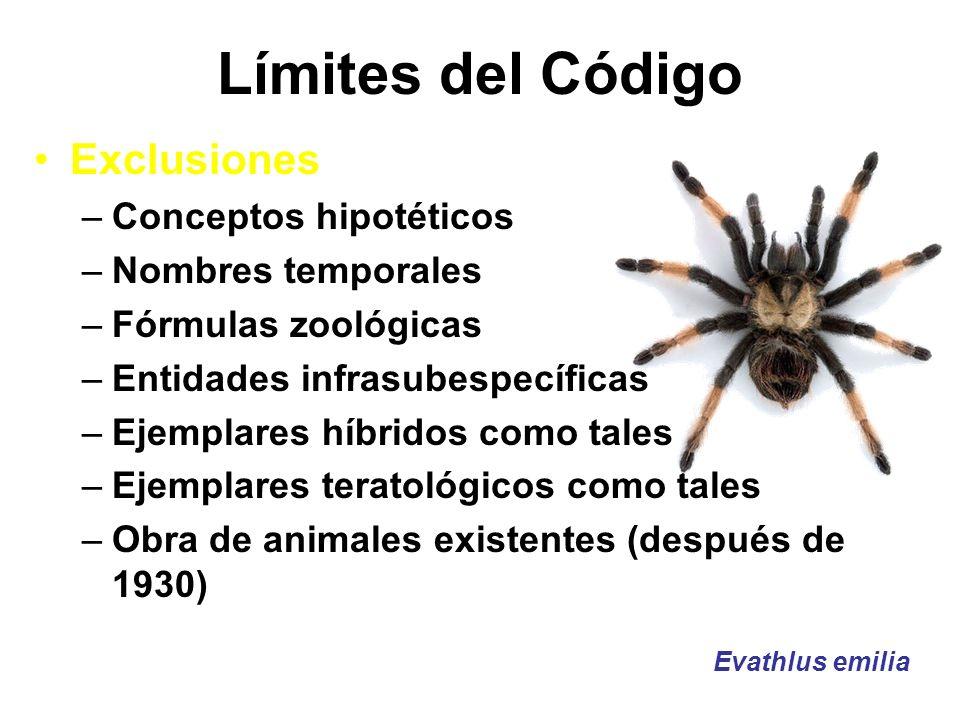 Límites del Código Exclusiones –Conceptos hipotéticos –Nombres temporales –Fórmulas zoológicas –Entidades infrasubespecíficas –Ejemplares híbridos com