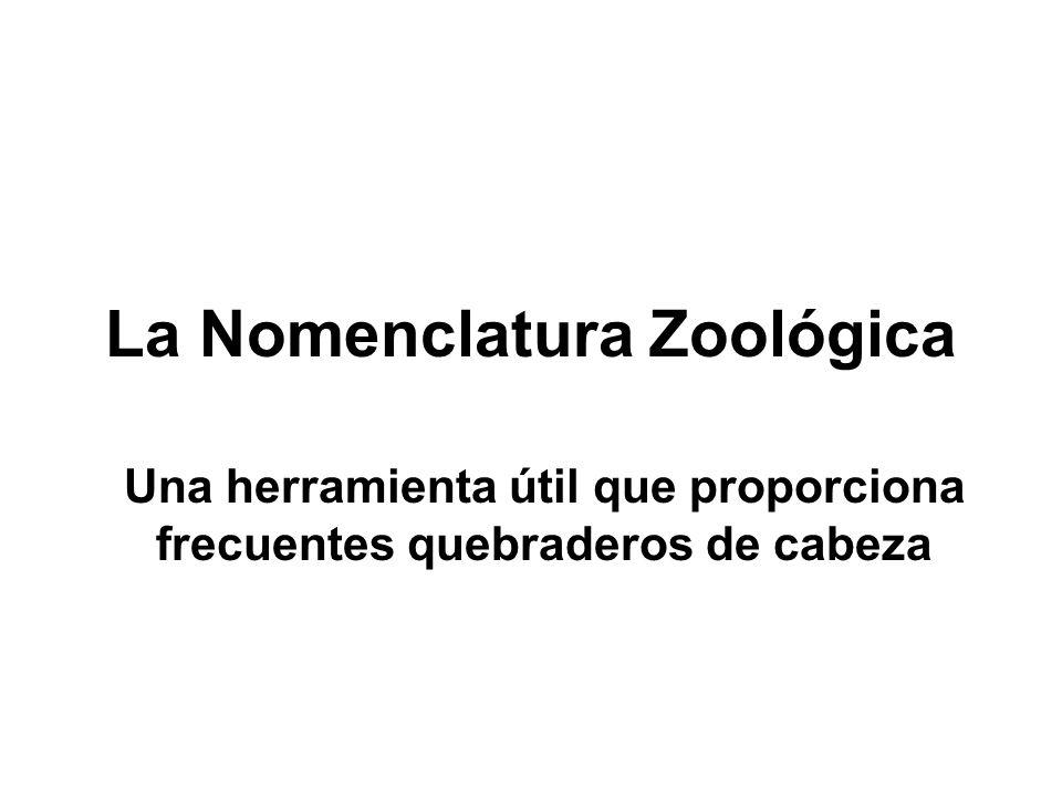 La Nomenclatura Zoológica Una herramienta útil que proporciona frecuentes quebraderos de cabeza